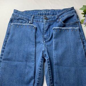 Hannah Women's Ankel Studded Hem Jeans Size 8